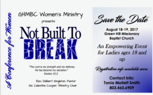 """""""Not Built to Break"""" Women's Conference @ Green Hill Missionary Baptist Church"""