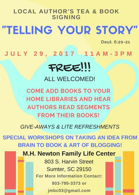 Local Author's Tea and Book Signing @ M.H. Newton Family Life Center | Sumter | South Carolina | United States